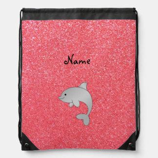 Brillo conocido personalizado del rosa del delfín mochila
