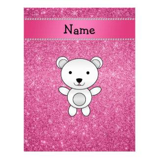 Brillo conocido personalizado del rosa del oso membrete a diseño