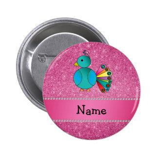 Brillo conocido personalizado del rosa del pavo re pins