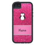 Brillo conocido personalizado del rosa del pingüin iPhone 5 Case-Mate cárcasas