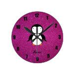 Brillo conocido personalizado del rosa del pingüin reloj de pared