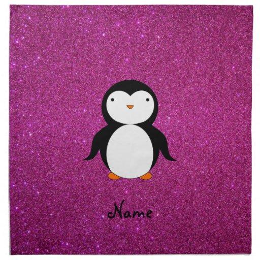 Brillo conocido personalizado del rosa del pingüin servilletas imprimidas