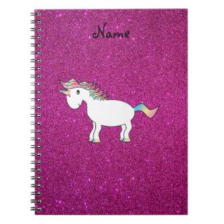 Brillo conocido personalizado del rosa del unicorn libro de apuntes con espiral