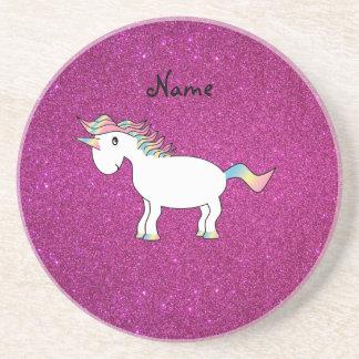 Brillo conocido personalizado del rosa del unicorn posavasos manualidades