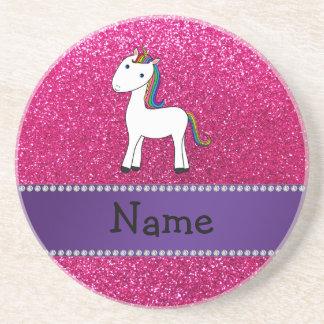 Brillo conocido personalizado del rosa del unicorn posavaso para bebida