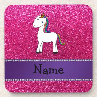Brillo conocido personalizado del rosa del unicorn posavasos