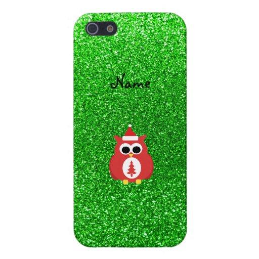 Brillo conocido personalizado del verde del búho d iPhone 5 fundas