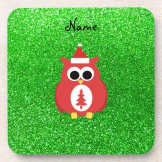 Brillo conocido personalizado del verde del búho d posavasos de bebidas