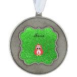 Brillo conocido personalizado del verde del búho adorno ondulado de peltre