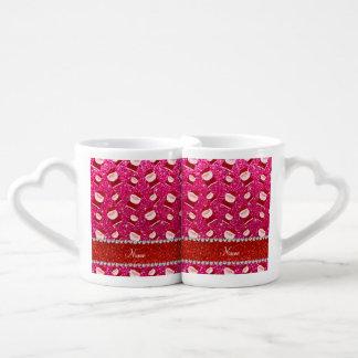 Brillo conocido personalizado santas del rosa tazas para parejas