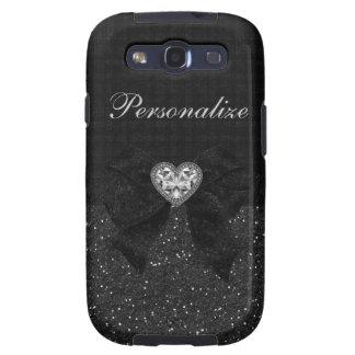 Brillo corazón del diamante y arco negros impreso samsung galaxy s3 carcasas