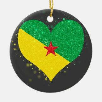Brillo de la bandera de la Guayana Francesa Adorno Redondo De Cerámica