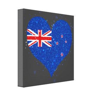 Brillo de la bandera de Nueva Zelanda hermoso Impresiones En Lienzo Estiradas