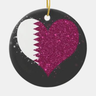 Brillo de la bandera de Qatar único Adorno Redondo De Cerámica
