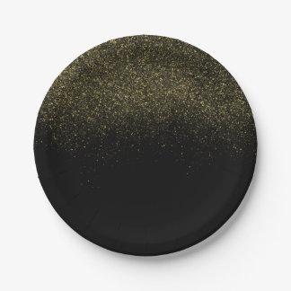 Brillo de la chispa del negro del oro platos de papel