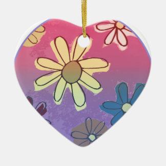 Brillo de la flor de Pascua Adorno De Cerámica En Forma De Corazón