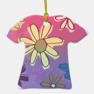 Brillo de la flor de Pascua Adorno De Cerámica En Forma De Camiseta