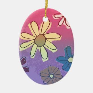 Brillo de la flor de Pascua Adorno Ovalado De Cerámica