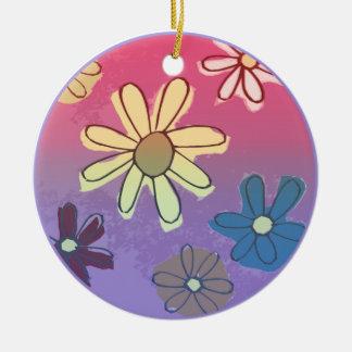 Brillo de la flor de Pascua Adorno Redondo De Cerámica