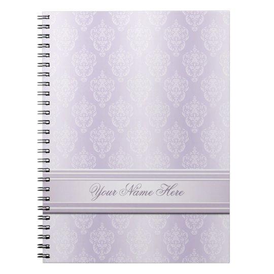 Brillo de la lavanda del damasco spiral notebook