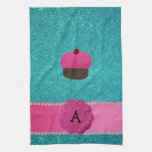 Brillo de la turquesa de la magdalena del monogram toalla de cocina