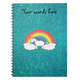 Brillo de la turquesa del unicornio del arco iris cuadernos