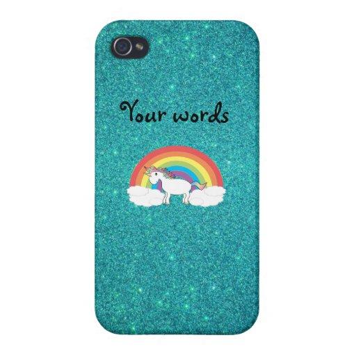 Brillo de la turquesa del unicornio del arco iris iPhone 4/4S carcasas