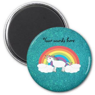 Brillo de la turquesa del unicornio del arco iris imán redondo 5 cm