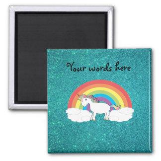 Brillo de la turquesa del unicornio del arco iris imán cuadrado