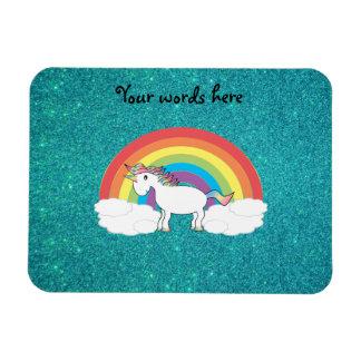 Brillo de la turquesa del unicornio del arco iris imanes
