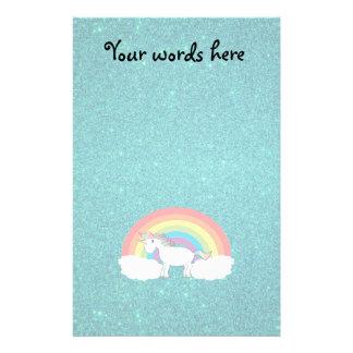 Brillo de la turquesa del unicornio del arco iris  papeleria de diseño