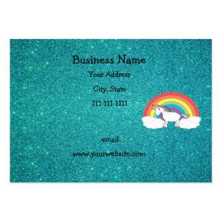 Brillo de la turquesa del unicornio del arco iris tarjeta de negocio