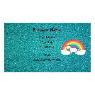 Brillo de la turquesa del unicornio del arco iris plantillas de tarjetas personales