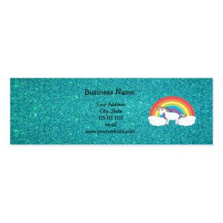 Brillo de la turquesa del unicornio del arco iris tarjeta personal