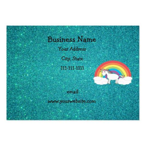 Brillo de la turquesa del unicornio del arco iris tarjetas de visita grandes