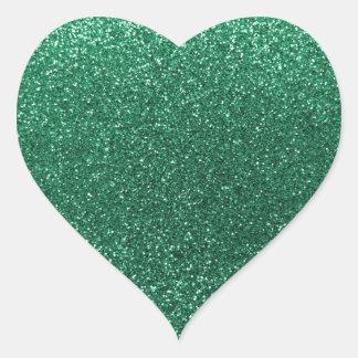 Brillo de la verde menta pegatina en forma de corazón