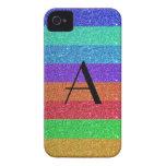 Brillo de las rayas del arco iris del monograma Case-Mate iPhone 4 fundas