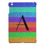 Brillo de las rayas del arco iris del monograma iPad mini cobertura