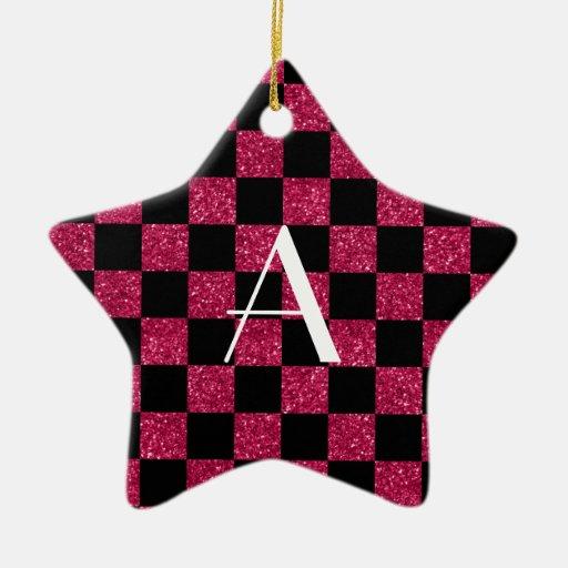 Brillo de las rosas fuertes y del negro del adorno navideño de cerámica en forma de estrella