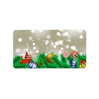 Brillo de los ornamentos del navidad etiquetas de dirección