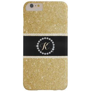 Brillo de lujo del oro de la correa negra del funda para iPhone 6 plus barely there