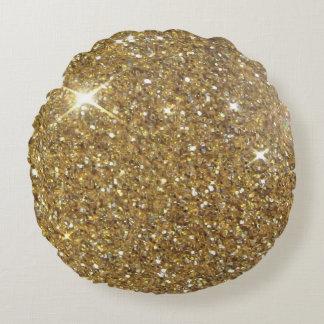 Brillo de lujo del oro - imagen impresa cojín redondo