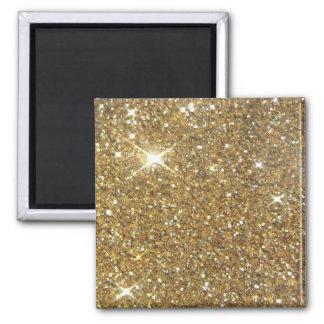 Brillo de lujo del oro - imagen impresa imán cuadrado