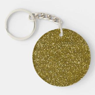 Brillo de moda del oro llavero redondo acrílico a doble cara