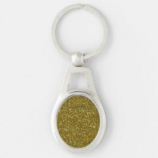 Brillo de moda del oro llavero plateado ovalado