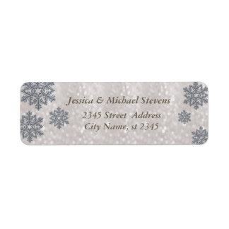Brillo de moda elegante del copo de nieve del etiquetas de remite