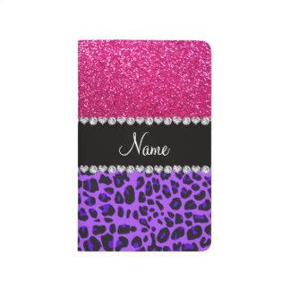 Brillo de neón de las rosas fuertes del leopardo p cuadernos