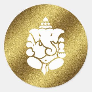 Brillo de oro de Ganesha Pegatina Redonda