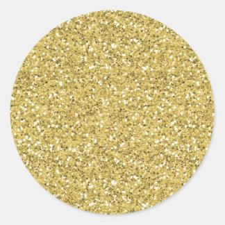 Brillo de oro del reflejo pegatina redonda