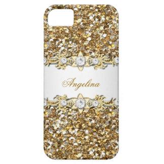 Brillo de plata 2 de la joya del diamante del oro iPhone 5 fundas